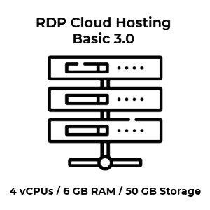 RDP Cloud Hosting Basic 3.0 - 4 vCPU Kerne / 6 GB RAM /...