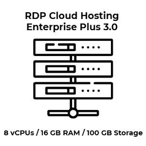 RDP Cloud Hosting Enterprise Plus 3.0 - 8 vCPU Kerne / 16...