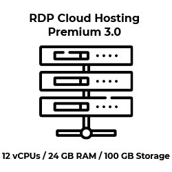 RDP Cloud Hosting Premium 3.0 - 12 vCPU Kerne / 24 GB RAM...